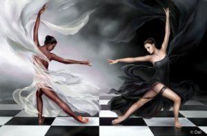 Черная и белая девушки