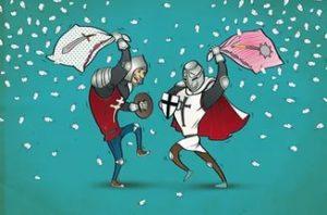 Рыцарский бой подушками