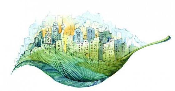 Рисунок город на листе