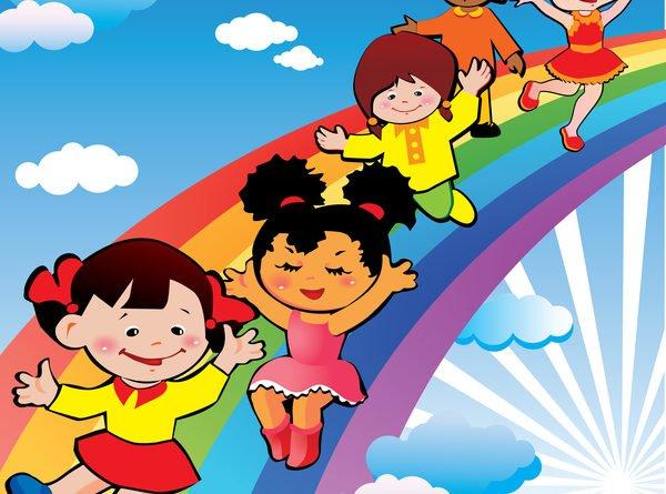 Рисунок дети на радуге