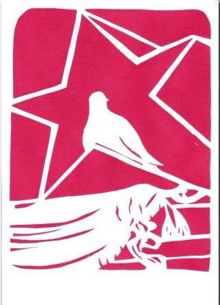 Вытынанка голубя к 9 мая