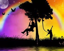Картинка дети и закат