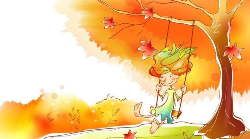 рисунок девочка на качеле