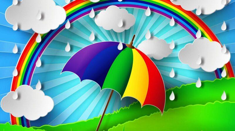 рисунок зонт и тучки